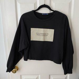 Zara Cropped Crewneck Sweatshirt